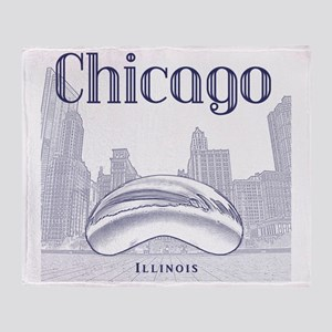 Chicago_10x10_ChicagoBeanSkylineV1_B Throw Blanket